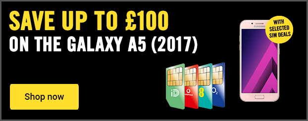 Save up to £100 on the Samsung Galaxy A5 2017 when bought with a SIM